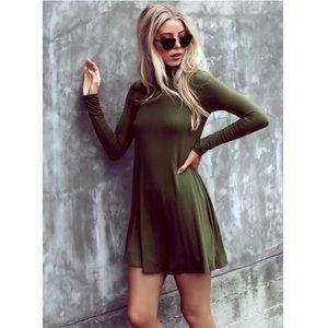 NWOT Lulu's Sway Girl Sway Olive Green Swing Dress